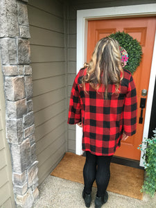 Buffalo Plaid Front Pocket Cardigan