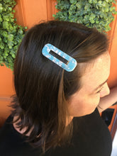 Load image into Gallery viewer, Light Blue & White Marble Rectangle Hair Clip