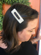 Load image into Gallery viewer, Pearl Beaded Rectangle Hair Clip
