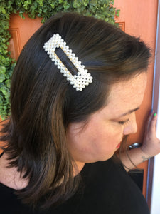 Pearl Beaded Rectangle Hair Clip