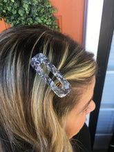 Load image into Gallery viewer, Grey & White Marble Rectangle Hair Clip
