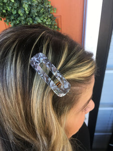 Grey & White Marble Rectangle Hair Clip