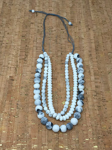 Multi Strand White Marble Necklace