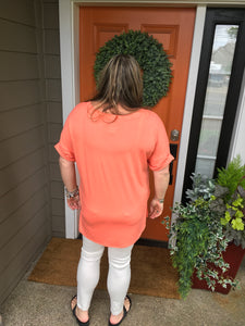 Coral V-Neck Top with Rolled Sleeves and Small Slide Slits