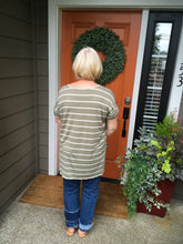 Load image into Gallery viewer, Light Olive Striped V-Neck Top with Rolled Sleeves and Small Slide Slits