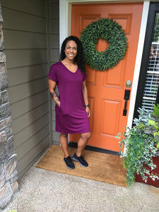 Plum V-Neck Rolled Sleeve Dress with Pockets
