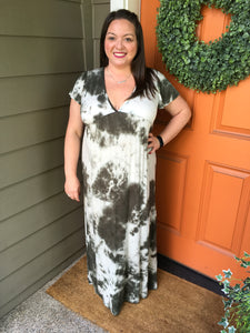 Green Tie Dyed Maxi Dress