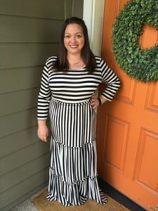 Stripe Three Tiered Maxi Dress