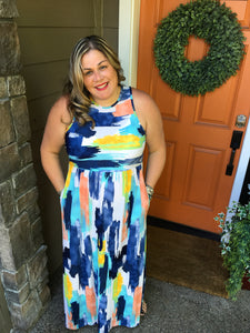 Navy & Yellow Maxi Dress w/Pockets