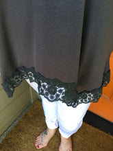 Load image into Gallery viewer, Dark Grey Lace Tank w/ V-Back