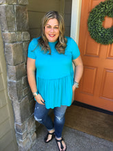 Load image into Gallery viewer, Bright Teal Ruffle Top