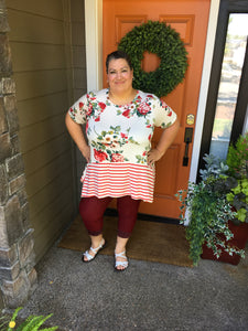Red Floral & Stripe Tunic