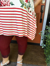 Load image into Gallery viewer, Red Floral & Stripe Tunic