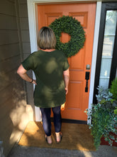 Load image into Gallery viewer, Army Green Rolled Sleeve V-Neck top with Side Slits