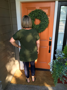 Army Green Rolled Sleeve V-Neck top with Side Slits