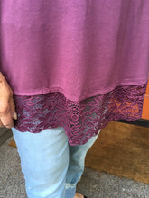 Load image into Gallery viewer, Eggplant Tunic w/Lace Trim