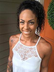 White Lace Front Halter Top Tank