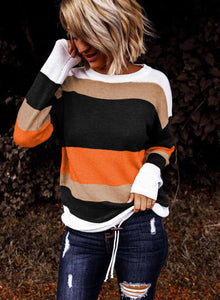 Orange Color block Knit Sweater