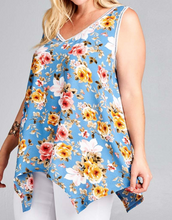 Load image into Gallery viewer, Denim Blue Floral Tank