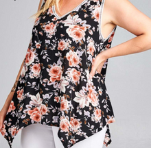 Load image into Gallery viewer, Black Floral Tank Top