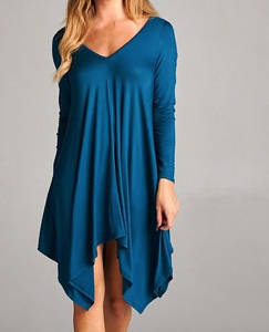 Teal Double V Tunic/Dress