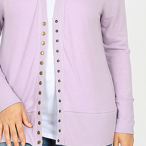Dusty Lavender Long Sleeve Snap Cardigan