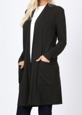 Black Front Pocket Long Sleeve Tunic Material Cardigan