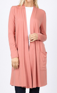 Ash Rose Front Pocket Cardigan-Tunic Material