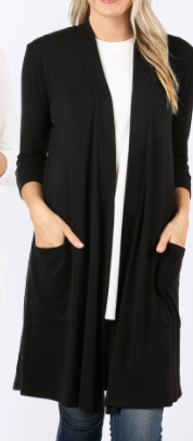 Black Front Pocket 3/4 Sleeve Tunic Material Cardigan