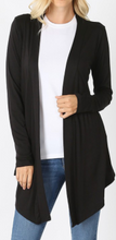 Load image into Gallery viewer, Black Long Sleeve Tunic Material Short Cardigan