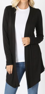 Black Long Sleeve Tunic Material Short Cardigan