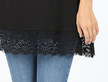 Load image into Gallery viewer, Black Lace Trim Tank Tunic