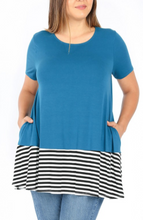 Load image into Gallery viewer, Teal Tunic with Stripe Accent