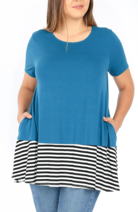 Teal Tunic with Stripe Accent