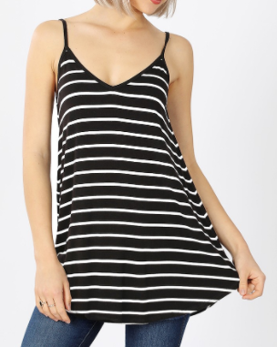 Black w/White Stripe Reversible Tank Top