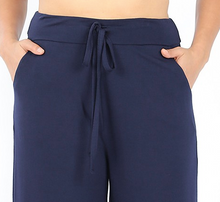 Load image into Gallery viewer, Navy Cropped Lounge Pants