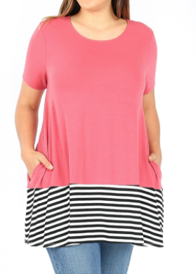 Rose Short Sleeve Tunic with Black & White Accents