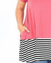 Load image into Gallery viewer, Rose Short Sleeve Tunic with Black & White Accents