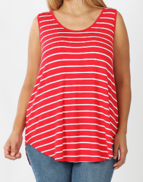Ruby Red Scoop Neck Striped Tank