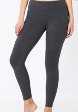 Load image into Gallery viewer, Charcoal Wide Waistband Moto Leggings