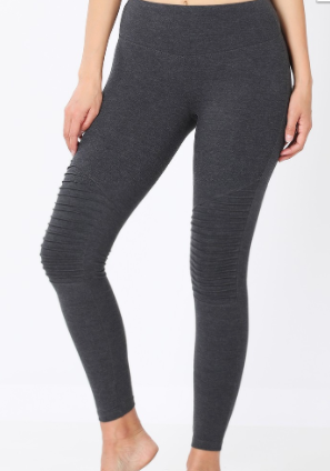 Charcoal Wide Waistband Moto Leggings