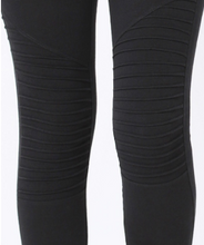 Load image into Gallery viewer, Wide Waistband Black Moto Leggings