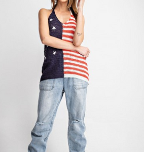 American Flag Knit Halter Top