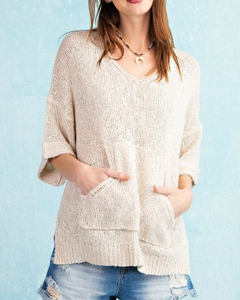 Cream Pullover Sweater with Kangaroo Pocket