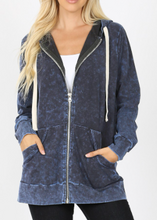 Load image into Gallery viewer, Sapphire Mineral Wash Zip Up Hoodie