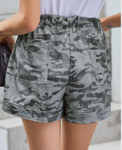 Grey Camo Drawstring Shorts