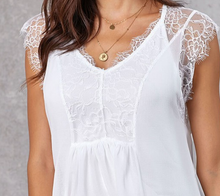 Load image into Gallery viewer, White Lace Accent Top w/Tank