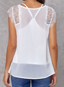 White Lace Accent Top w/Tank