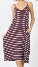 Load image into Gallery viewer, Eggplant with White Stripes Midi Dress