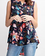 Load image into Gallery viewer, Navy Floral High Low Tank Top